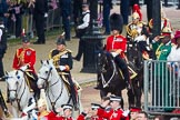Trooping the Colour 2012: The Crown Equerry and Equerry in Waiting to Her Majesty, behind them Colonel Coldstream Guards, Lieutenant General J J C Bucknall.. Horse Guards Parade, Westminster, London SW1,  United Kingdom, on 16 June 2012 at 10:58, image #153