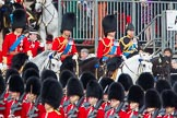 Trooping the Colour 2012: The Royal Colonels: HRH The Duke of Cambridge, Colonel Irish Guards, HRH The Prince of Wales, Colonel Welsh Guards, HRH The Duke of Kent, Colonel Scots Guards, and HRH The Princess Royal, Gold Stick in Waiting and Colonel The Blues and Royals (Royal Horse Guards and 1st Dragoons).. Horse Guards Parade, Westminster, London SW1,  United Kingdom, on 16 June 2012 at 10:58, image #156