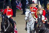 Trooping the Colour 2012: The Non-Royal Colonels, Colonel Coldstream Guards, Lieutenant General J J C Bucknall, and Colonel The Life Guards, General the Lord Guthrie of Craigiebank. Behind them Major General Commanding the Household Division and General Officer Commanding London District Major General G P R Norton.. Horse Guards Parade, Westminster, London SW1,  United Kingdom, on 16 June 2012 at 10:58, image #158