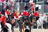 Trooping the Colour 2012: and Foot Guards Regimental Adjutants: Silver Stick Adjutant Lieutenant Colonel H S J Scott, The Life Guards, and the Foot Guards Regimental Adjutants, Major G V A Baker, Grenadier Guards, Lieutenant Colonel A W Foster, Scots Guards, Colonel T C S Bonas, Welsh Guards, Lieutenant Colonel J B O'Gorman, Irish Guards, and Major E M Crofton, Coldstream Guards.. Horse Guards Parade, Westminster, London SW1,  United Kingdom, on 16 June 2012 at 10:59, image #165