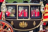 Trooping the Colour 2012: A closer view of HM The Queen in the Glass Coach during the Inspection of the Line.. Horse Guards Parade, Westminster, London SW1,  United Kingdom, on 16 June 2012 at 11:03, image #215
