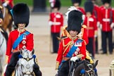 Trooping the Colour 2012: Father and son during the Inspection of the Line - HRH The Duke of Cambridge and HRH The Prince of Wales.. Horse Guards Parade, Westminster, London SW1,  United Kingdom, on 16 June 2012 at 11:07, image #240