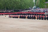 Trooping the Colour 2012: The Massed Bands Troop begins, the Massed Bands are reversing their marching direction, with the five Drum Majors in the lead.. Horse Guards Parade, Westminster, London SW1,  United Kingdom, on 16 June 2012 at 11:11, image #268