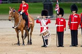 Trooping the Colour 2012: The Lone Drummer, Lance Sergeant Paul Blako, saluting, before he starts marching towards the Colour.. Horse Guards Parade, Westminster, London SW1,  United Kingdom, on 16 June 2012 at 11:16, image #290