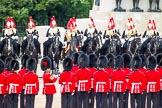 Trooping the Colour 2012: The guardsmen turning around in the process of forming divisions for the next phase of the parade.. Horse Guards Parade, Westminster, London SW1,  United Kingdom, on 16 June 2012 at 11:30, image #364