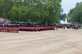 Trooping the Colour 2012: Guards divisions turning left on their anti-clockwise march around Horse Guards Parade. In the background a fountain in St. James's Park.. Horse Guards Parade, Westminster, London SW1,  United Kingdom, on 16 June 2012 at 11:34, image #394