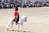 Trooping the Colour 2012: The Adjutant of the Parade, Captain F O B Wells, Coldstream Guards, following the last guards division during the March Past.. Horse Guards Parade, Westminster, London SW1,  United Kingdom, on 16 June 2012 at 11:39, image #443