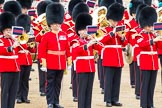 Trooping the Colour 2012: Musicians from the band of the Welsh Guards during the March Past. Second to the left the Senior Director of Music, Lieutenant Colonel S C Barnwell, Welsh Guards.. Horse Guards Parade, Westminster, London SW1,  United Kingdom, on 16 June 2012 at 11:39, image #449