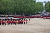 Trooping the Colour 2012: The March Past in Quick Time, the guards divisions turning left again along St. James's Park.. Horse Guards Parade, Westminster, London SW1,  United Kingdom, on 16 June 2012 at 11:48, image #509