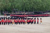 Trooping the Colour 2012: The March Past in Quick Time, the guards divisions turning left again along St. James's Park.. Horse Guards Parade, Westminster, London SW1,  United Kingdom, on 16 June 2012 at 11:48, image #510