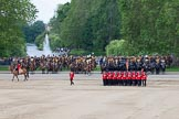 Trooping the Colour 2012: The guards divisions reorganise from the evenly spaced company formations back to the two very long lines of guardsmen. Here No. 1  Guard, the Escort to the Colour.. Horse Guards Parade, Westminster, London SW1,  United Kingdom, on 16 June 2012 at 11:50, image #513
