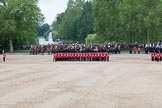 Trooping the Colour 2012: The guards divisions reorganise from the evenly spaced company formations back to the two very long lines of guardsmen. Here No. 1  Guard, the Escort to the Colour.. Horse Guards Parade, Westminster, London SW1,  United Kingdom, on 16 June 2012 at 11:50, image #514