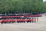Trooping the Colour 2012: The guards divisions reorganise from the evenly spaced company formations back to the two very long lines of guardsmen. Here No. 4 and No.5 Guard can be seen during this movement.. Horse Guards Parade, Westminster, London SW1,  United Kingdom, on 16 June 2012 at 11:50, image #516