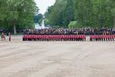 Trooping the Colour 2012: The guards divisions reorganise from the evenly spaced company formations back to the two very long lines of guardsmen. Here No. 1  Guard, the Escort to the Colour, and No. 2 Guard on the right.  The moe is almost completed and the line closed again.. Horse Guards Parade, Westminster, London SW1,  United Kingdom, on 16 June 2012 at 11:50, image #517