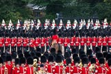Trooping the Colour 2012: The line of guardsmen has been closed again. In the background The Life Guards on their horses, then the two rows of guardsmen, and in front the Massed Bands.. Horse Guards Parade, Westminster, London SW1,  United Kingdom, on 16 June 2012 at 11:50, image #518