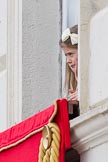 Trooping the Colour 2012: Still don't know ho the young lady is - watching the parade from the Major General's office.. Horse Guards Parade, Westminster, London SW1,  United Kingdom, on 16 June 2012 at 11:51, image #519