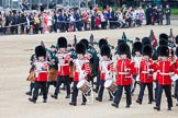 Trooping the Colour 2012: Drummers, Pipers, and members of the Band of the Grenadier Guards marching along Horse Guards Parade before the start of the Ride Past.. Horse Guards Parade, Westminster, London SW1,  United Kingdom, on 16 June 2012 at 11:52, image #522