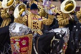 Trooping the Colour 2012: The Kettle Drummer from The Life Guards during the Ride Past.. Horse Guards Parade, Westminster, London SW1,  United Kingdom, on 16 June 2012 at 11:57, image #574