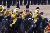 Trooping the Colour 2012: Musicians from the Mounted Bands of the Household Cavalry playing during the Ride Past.. Horse Guards Parade, Westminster, London SW1,  United Kingdom, on 16 June 2012 at 11:57, image #575