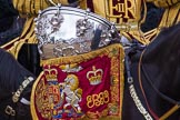 Trooping the Colour 2012: Closer look at a kettle drum. The Mounted Bands of the Household Cavalry during the Ride Past.. Horse Guards Parade, Westminster, London SW1,  United Kingdom, on 16 June 2012 at 11:57, image #579