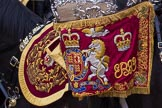 Trooping the Colour 2012: A closer look at the Banner on Kettledrum of The Life Guards. The Mounted Bands of the Household Cavalry during the Ride Past.. Horse Guards Parade, Westminster, London SW1,  United Kingdom, on 16 June 2012 at 11:57, image #580