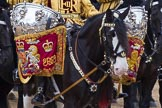Trooping the Colour 2012: Drum Horse and Kettle Drums. The Mounted Bands of the Household Cavalry during the Ride Past.. Horse Guards Parade, Westminster, London SW1,  United Kingdom, on 16 June 2012 at 11:57, image #581