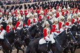 Trooping the Colour 2012: The Ride Past, here The Life Guards. The Massed Bands, on top of the image, are at the centre of Horse Guards Parade, the troops ride around them.. Horse Guards Parade, Westminster, London SW1,  United Kingdom, on 16 June 2012 at 12:00, image #593