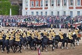 Trooping the Colour 2012: The Ride Past: The Household Cavalry Mounted Bands are joining in, following The Life Guards (riding to the left in the centre of this image).. Horse Guards Parade, Westminster, London SW1,  United Kingdom, on 16 June 2012 at 12:01, image #601