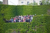 Trooping the Colour 2012: Spectators on the ivy covered Citadel stand during the National Anthem.. Horse Guards Parade, Westminster, London SW1,  United Kingdom, on 16 June 2012 at 12:04, image #618