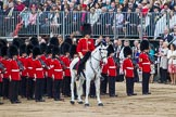 Trooping the Colour 2012: The Adjutant of the Parade, Captain F O B Wells, Coldstream Guards, behind him No. 6 Guard, F Company Scots Guards.. Horse Guards Parade, Westminster, London SW1,  United Kingdom, on 16 June 2012 at 12:05, image #620