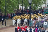 Trooping the Colour 2012: The Massed Mounted Bands are moving up the access road to The Mall, ready for the March Off.. Horse Guards Parade, Westminster, London SW1,  United Kingdom, on 16 June 2012 at 12:05, image #622
