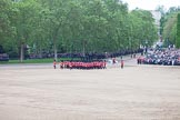 Trooping the Colour 2012: No. 6 Guard, F Company Scots Guards, now in a much more 'compact' formation, are moving to the rear of No. 1 to No. 5 Guard for the March Off.. Horse Guards Parade, Westminster, London SW1,  United Kingdom, on 16 June 2012 at 12:06, image #625
