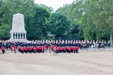 Trooping the Colour 2012: Getting ready for the March Off, here No. 5 and No. 6 Guard. Behind them, in front of the Guards Memorial, the Household Cavalry, The Blues and Royals on the left, The Life Guards on the right.. Horse Guards Parade, Westminster, London SW1,  United Kingdom, on 16 June 2012 at 12:06, image #626