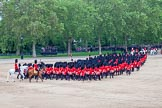 Trooping the Colour 2012: The March Off - All the guardsmen from No. 1 to No. 6 Guard are leaving, behind the Massed Bands and the Royal Procession, Horse Guards Parade towards The Mall.. Horse Guards Parade, Westminster, London SW1,  United Kingdom, on 16 June 2012 at 12:13, image #681