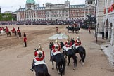 Trooping the Colour 2012: The March Off - members of the Royal Procession on the left of the image, in front the four troopers from The Life Guards, at the right of the saluting base the four troopers from The Blues and Royals.. Horse Guards Parade, Westminster, London SW1,  United Kingdom, on 16 June 2012 at 12:13, image #682