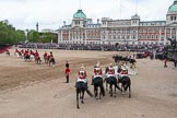 Trooping the Colour 2012: The March Off - members of the Royal Procession on the left of the image, in front the four troopers from The Life Guards, at the right of the saluting base the four troopers from The Blues and Royals.. Horse Guards Parade, Westminster, London SW1,  United Kingdom, on 16 June 2012 at 12:13, image #683