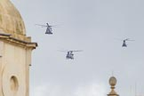 Trooping the Colour 2012: The flypast:  A Merlin-, Chinook-, and Puma helicopter about to fly over Horse Guards Building.. Horse Guards Parade, Westminster, London SW1,  United Kingdom, on 16 June 2012 at 12:59, image #713