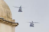 Trooping the Colour 2012: The flypast:  A Merlin- and Chinook helicopter about to fly over Horse Guards Building.. Horse Guards Parade, Westminster, London SW1,  United Kingdom, on 16 June 2012 at 12:59, image #714