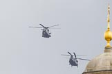 Trooping the Colour 2012: The flypast:  A Merlin- and Chinook helicopter about to fly over Horse Guards Building.. Horse Guards Parade, Westminster, London SW1,  United Kingdom, on 16 June 2012 at 12:59, image #716