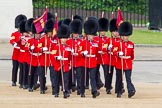The Colonel's Review 2013: The 'Keepers of the Ground', guardsmen bearing marker flags for their respective regiments, turning towards Horse Guards Parade at the Guards Memorial.. Horse Guards Parade, Westminster, London SW1,  United Kingdom, on 08 June 2013 at 09:53, image #25