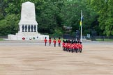 The Colonel's Review 2013: The 'Keepers of the Ground', guardsmen bearing marker flags for their respective regiments, turning towards Horse Guards Parade at the Guards Memorial.. Horse Guards Parade, Westminster, London SW1,  United Kingdom, on 08 June 2013 at 09:53, image #26