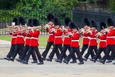 The Colonel's Review 2013: Musicians of the Band of the Coldstream Guards marching on Horse Guards Road.. Horse Guards Parade, Westminster, London SW1,  United Kingdom, on 08 June 2013 at 10:13, image #45