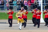 The Colonel's Review 2013: The Band of the Coldstream Guards, led by Senior Drum Major Matthew Betts, Grenadier Guards, marching onto Horse Guards Parade.. Horse Guards Parade, Westminster, London SW1,  United Kingdom, on 08 June 2013 at 10:13, image #48