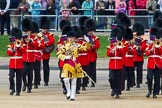 The Colonel's Review 2013: The Band of the Coldstream Guards, led by Senior Drum Major Matthew Betts, Grenadier Guards, marching onto Horse Guards Parade.. Horse Guards Parade, Westminster, London SW1,  United Kingdom, on 08 June 2013 at 10:13, image #49