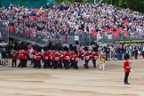 The Colonel's Review 2013: The Band of the Coldstream Guards about to change direction, Senior Drum Major Matthew Betts marching back between the lines of musicians.. Horse Guards Parade, Westminster, London SW1,  United Kingdom, on 08 June 2013 at 10:15, image #53