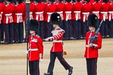 The Colonel's Review 2013: Welsh Guards Drummer approaching Colour Sergeant R J Heath, Welsh Guards, carrying the Colour and the two sentries.. Horse Guards Parade, Westminster, London SW1,  United Kingdom, on 08 June 2013 at 10:32, image #138