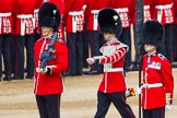 The Colonel's Review 2013: Welsh Guards Drummer approaching Colour Sergeant R J Heath, Welsh Guards, carrying the Colour and the two sentries.. Horse Guards Parade, Westminster, London SW1,  United Kingdom, on 08 June 2013 at 10:32, image #139