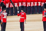 The Colonel's Review 2013: Welsh Guards Drummer approaching Colour Sergeant R J Heath, Welsh Guards, carrying the Colour and the two sentries.. Horse Guards Parade, Westminster, London SW1,  United Kingdom, on 08 June 2013 at 10:33, image #142