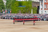 The Colonel's Review 2013: The Colour is now uncased, and the two sentries patrol to the left and right, to protect the Colour.. Horse Guards Parade, Westminster, London SW1,  United Kingdom, on 08 June 2013 at 10:34, image #159