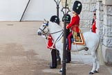 The Colonel's Review 2013: The Field Officer in Brigade Waiting, Lieutenant Colonel D W L Bossi, Welsh Guards, at Horse Guards Arch.. Horse Guards Parade, Westminster, London SW1,  United Kingdom, on 08 June 2013 at 10:38, image #180
